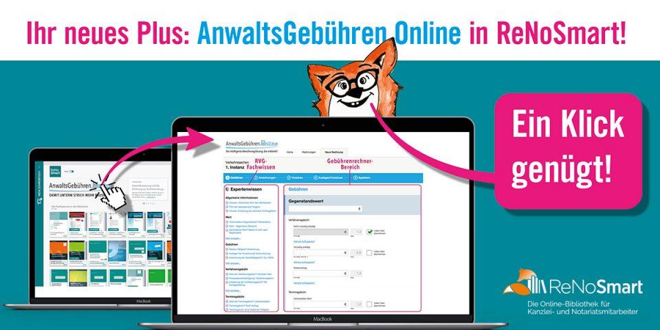 Neu: Anwaltsgebühren.Online jetzt in ReNoSmart