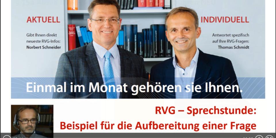 """Webinare auf Rezept: Die """"RVG-Sprechstunde"""""""